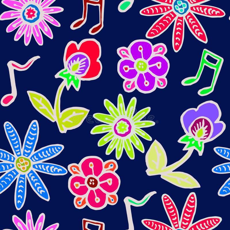 Blommor och vit översikt för musikanmärkningar på mörker - blå bakgrund stock illustrationer
