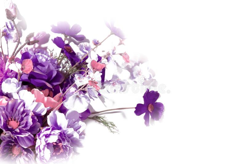 Blommor på bukett för vit lös blomma royaltyfri foto