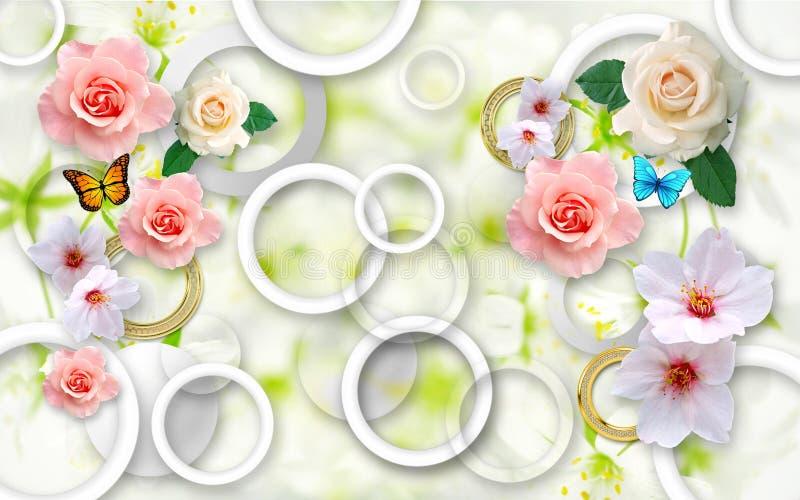 Blommor på en abstrakt bakgrund tapeter 3D för väggar 3d framför royaltyfria bilder