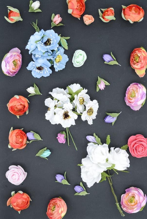 Blommor på en svart, sammansättning royaltyfri fotografi