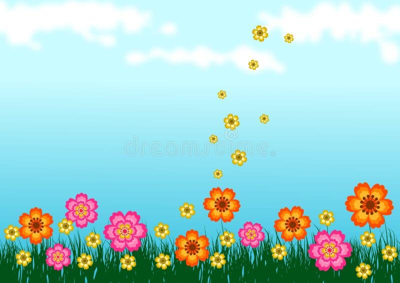 Blommor på gräs royaltyfri illustrationer