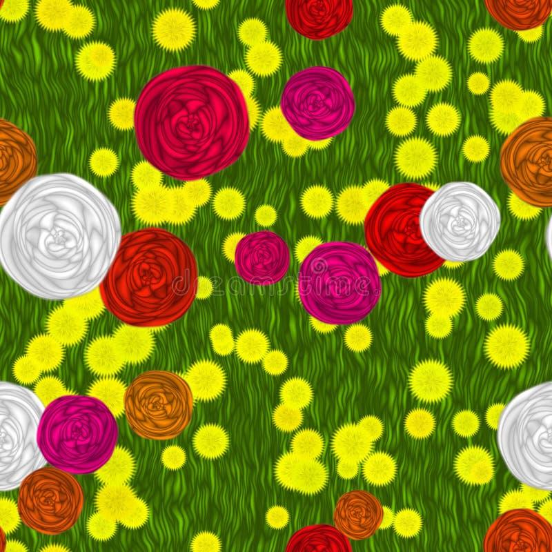 Blommor på sömlös frambragd hyratextur för äng stock illustrationer
