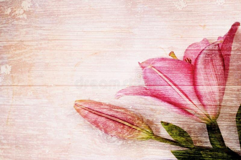 Blommor på träbakgrund royaltyfri illustrationer