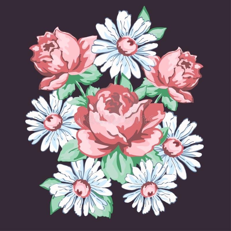 Blommor räcker den utdragna blom- broderidesignen, tygtrycket, blom- prydnad för vektor Sammansättning för handteckningsblomma fr stock illustrationer