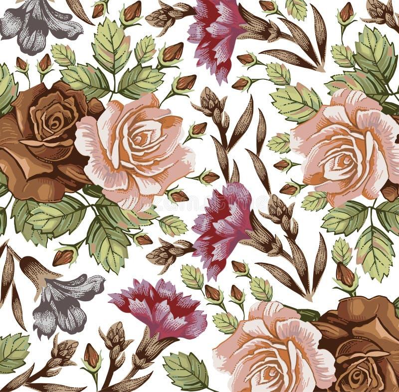 Blommor. Rosor. Härlig bakgrund. stock illustrationer