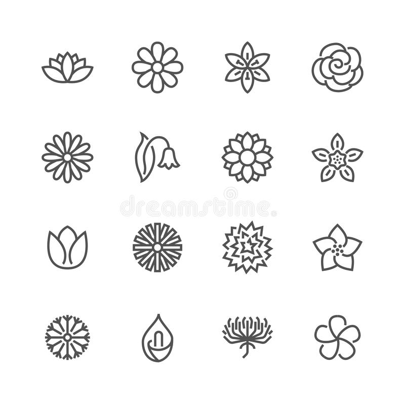Blommor sänker linjen symboler Härliga trädgårds- växter - kamomill, solros, rosblomma, lotusblomma, nejlika, maskros stock illustrationer