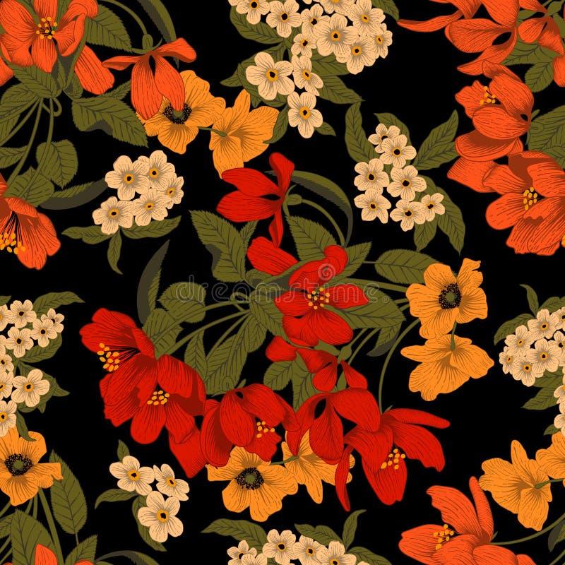 Blommor Seamless bakgrund Blommatextur yellow för modell för hjärta för blommor för fjärilsdroppe blom- Tappning klassiskt boston royaltyfri illustrationer