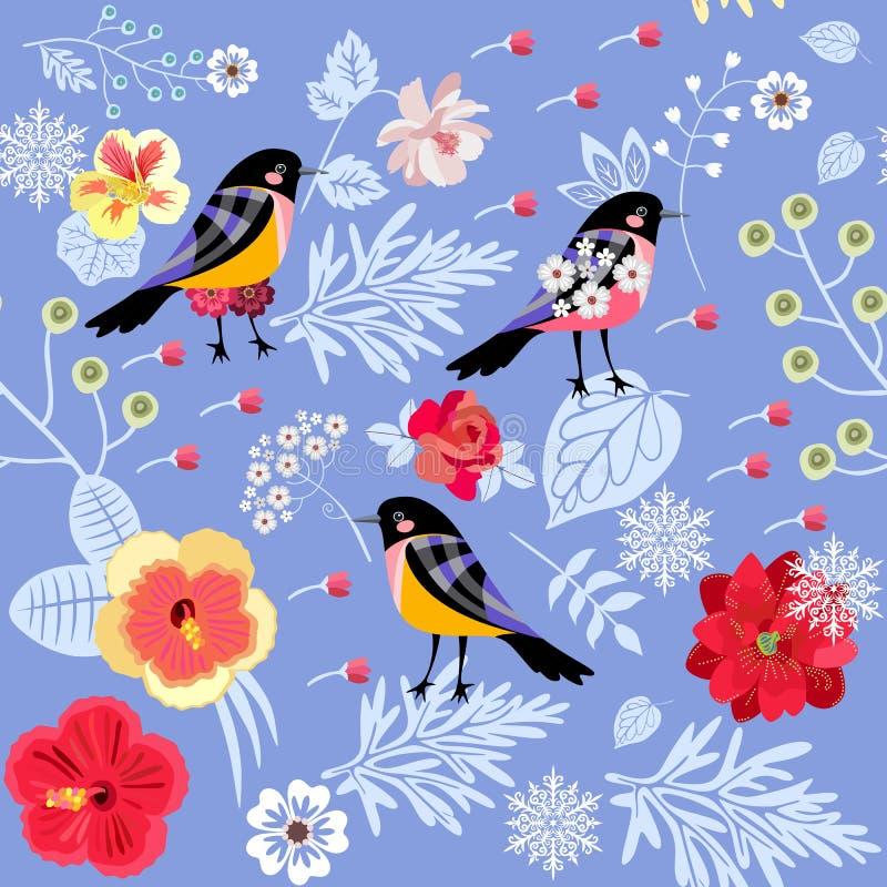 Blommor, sidor, bär, snöflingor och fåglar på ljust - blå bakgrund Härlig sömlös modell i vektor Jultryck stock illustrationer