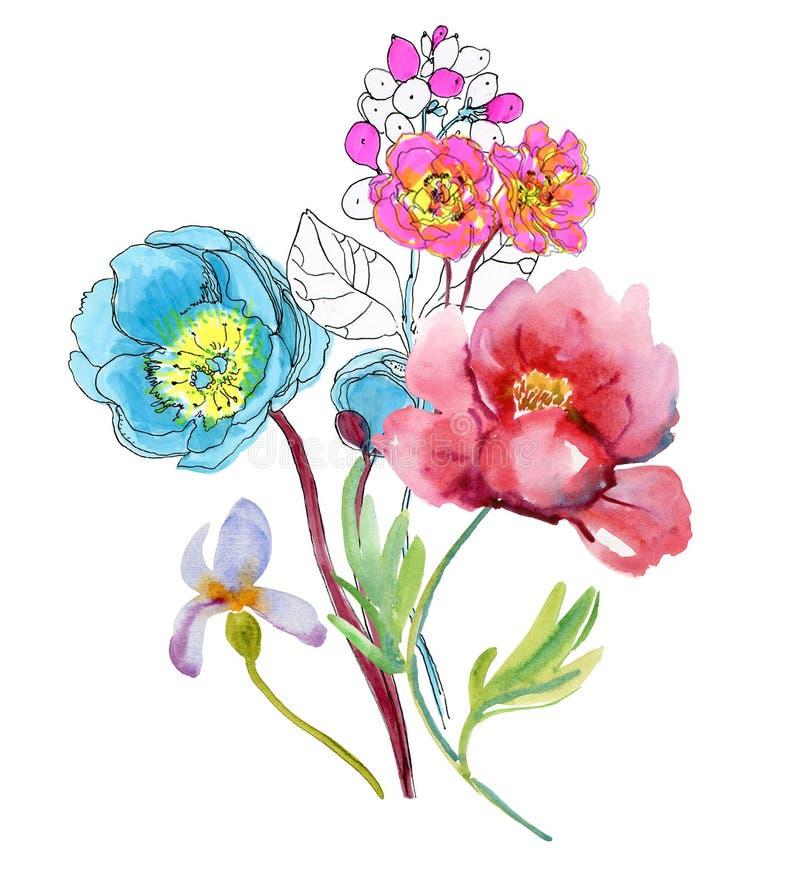 Blommor skissa tecknad hand royaltyfri illustrationer