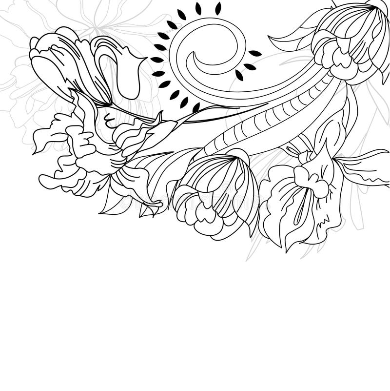 blommor skissar stock illustrationer