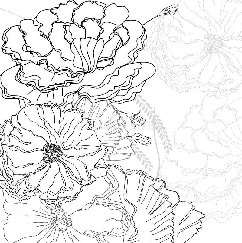 blommor skissar royaltyfri illustrationer