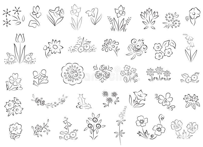blommor skissar olikt vektor illustrationer