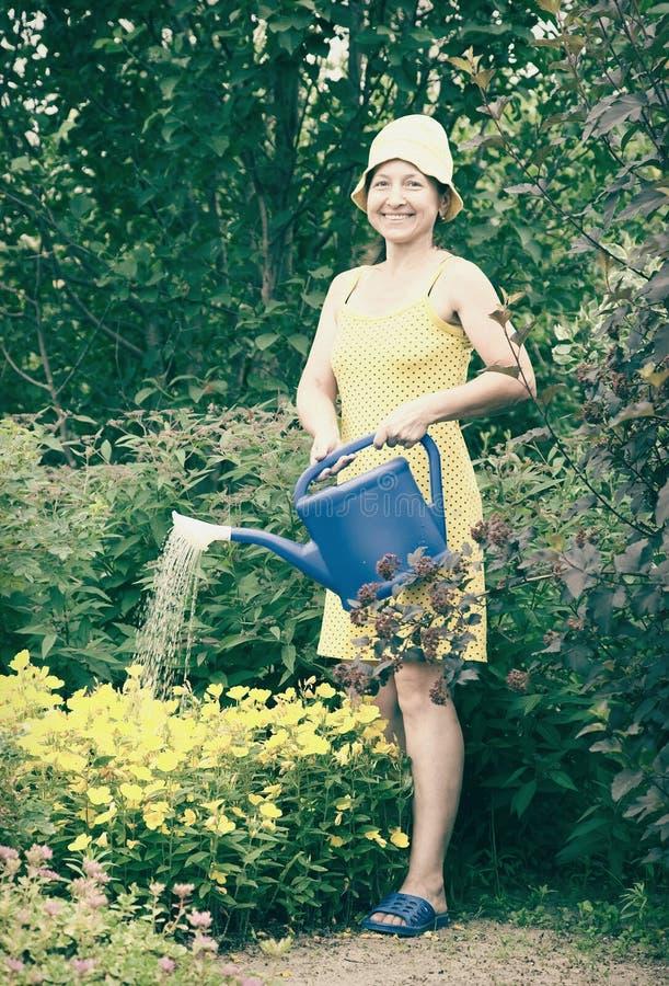 blommor som bevattnar kvinnan royaltyfri foto