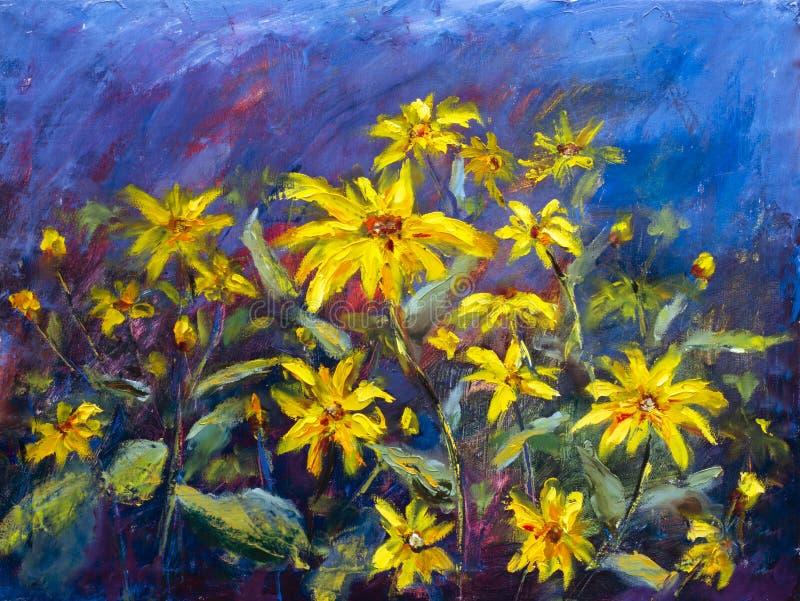 Blommor som målar, gula tusenskönor för lösa blommor, orange solrosor på en blå bakgrund, olje- målningar, landskap impressionism royaltyfri illustrationer