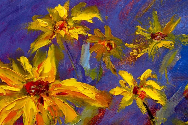 Blommor som målar, gula tusenskönor för lösa blommor, orange solrosor på en blå bakgrund, olje- målningar, landskap impressionism stock illustrationer