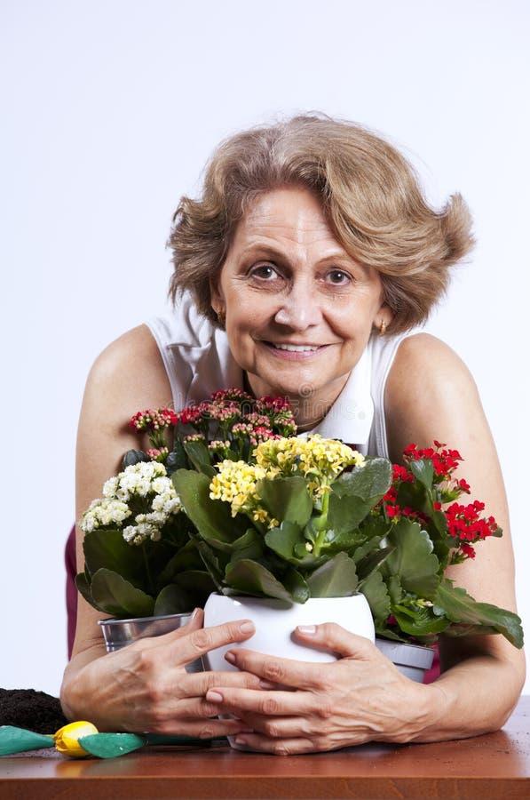 blommor som planterar den höga kvinnan fotografering för bildbyråer