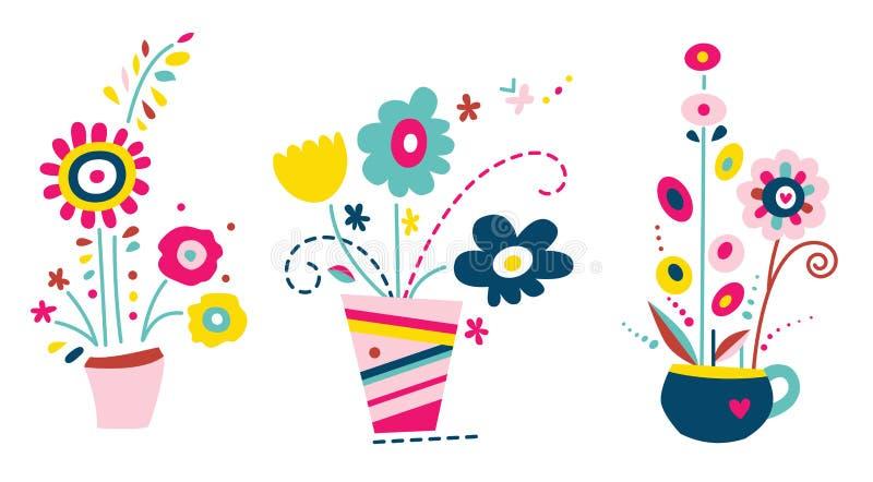 blommor ställde in vases vektor illustrationer