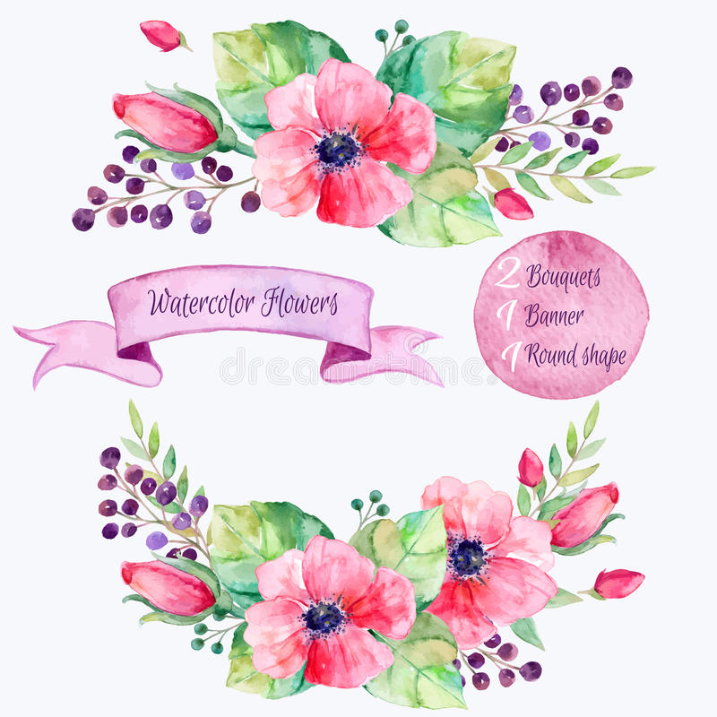 blommor ställde in vektorn Färgrik blom- samling med sidor och blommor som drar vattenfärgen stock illustrationer