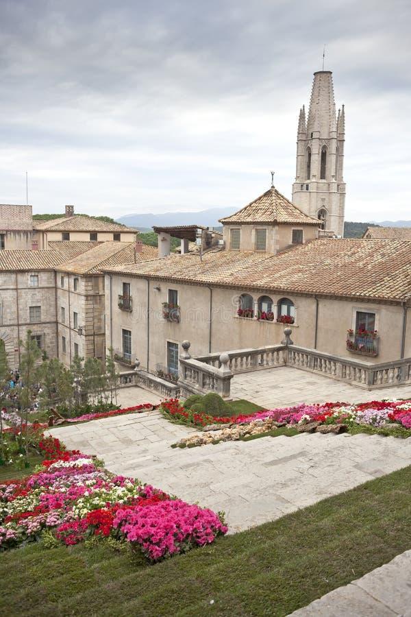 Blommor tajmar i Girona royaltyfria bilder