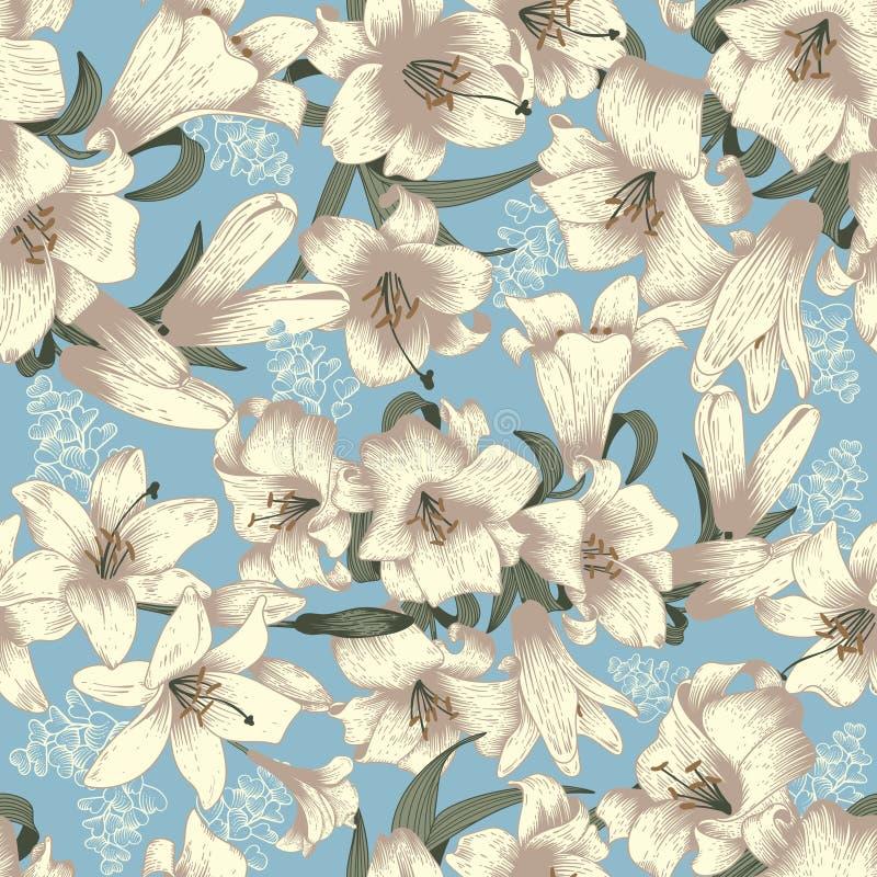 Blommor vita liljar seamless vektor för bakgrund Blom- tappning mönstrar bostonian stock illustrationer