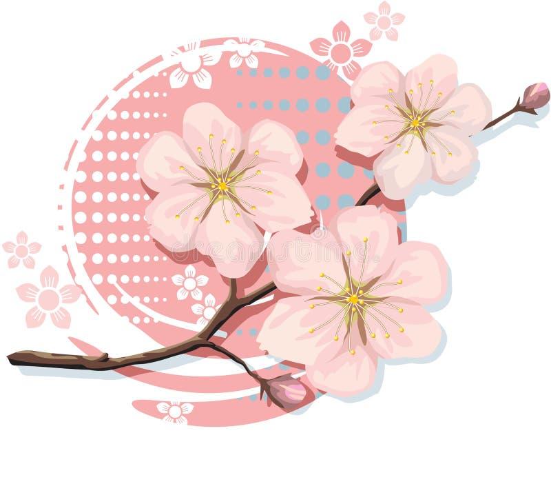 BlomningCherry inklusive vektorformat royaltyfri illustrationer