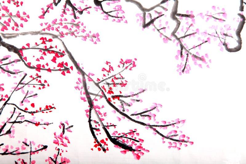 blomningkinesen blommar målningsplommonet royaltyfria bilder