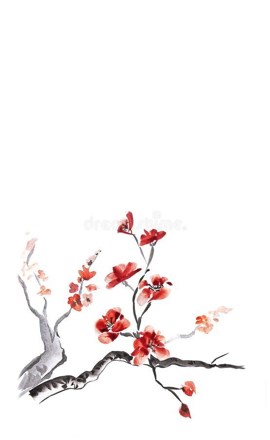 blomningplommon royaltyfri illustrationer