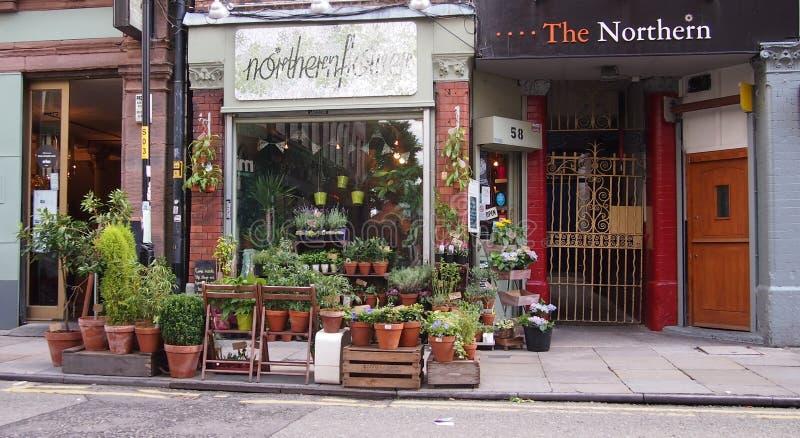 Blomsterhandel i den nordliga fjärdedelen, Manchester, England royaltyfri fotografi