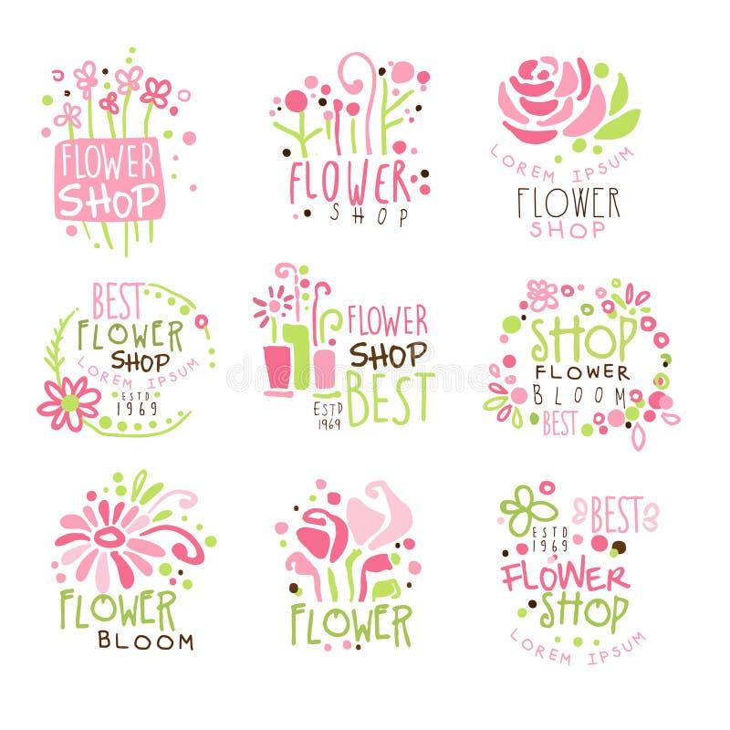 Blomsterhandelgräsplan och rosa färgrik mall Logo Set, hand för grafisk design drog vektorstenciler royaltyfri illustrationer