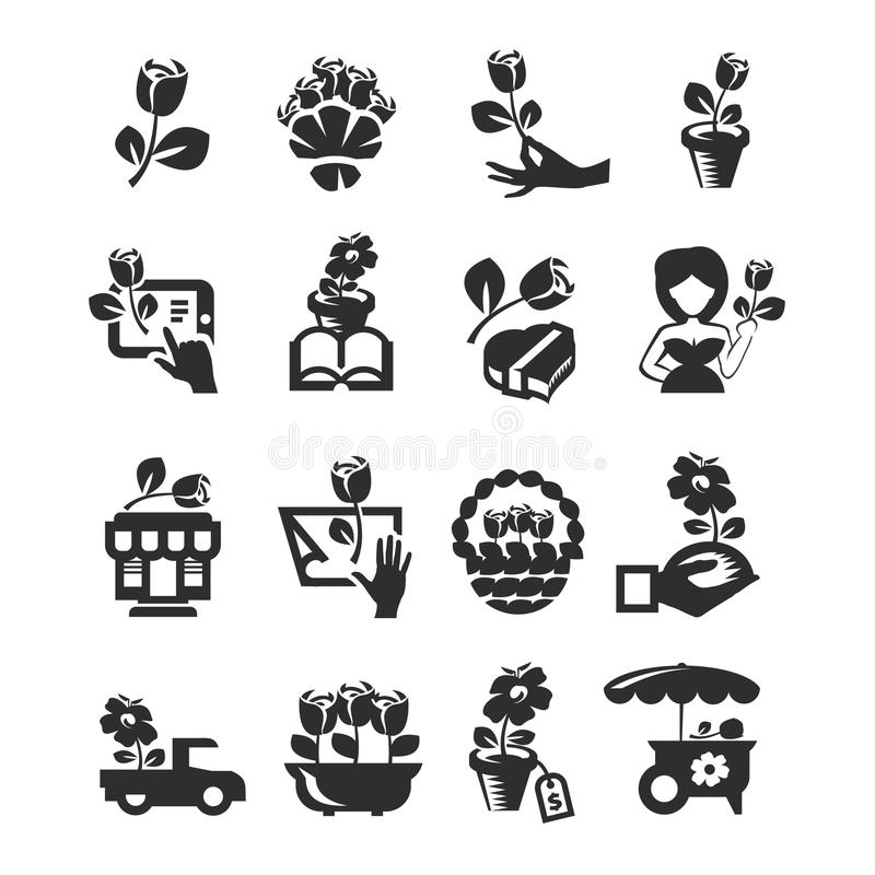 Blomsterhandelsymboler royaltyfri illustrationer