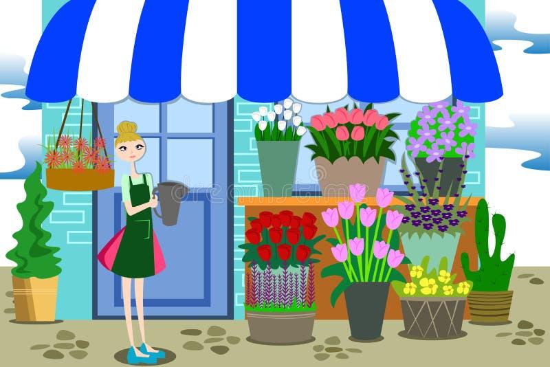 Blomsterhandlare Working med gruppen av olika blommor stock illustrationer