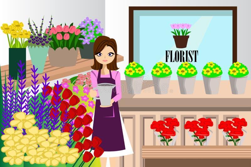 Blomsterhandlare Working med gruppen av olika blommor royaltyfri illustrationer