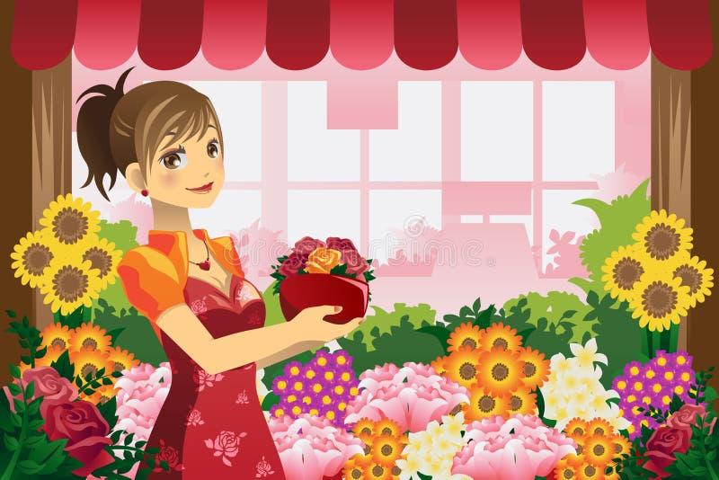 blomsterhandlareflicka vektor illustrationer