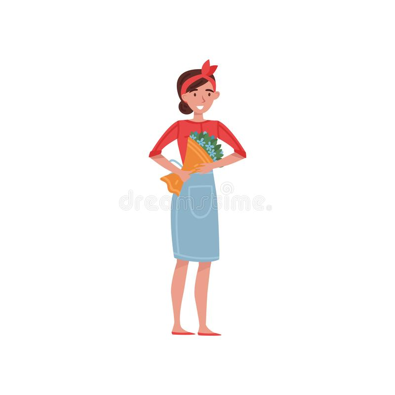 Blomsterhandlareflicka med buketten av härliga blommor Gullig ung kvinna i blått förkläde Plan vektordesign stock illustrationer