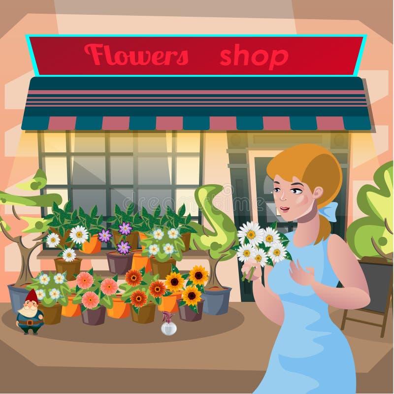 Blomsterhandlareflicka som rymmer en kruka av blommor i blomsterhandeln royaltyfri illustrationer
