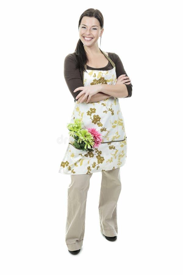 Blomsterhandlarekvinna arkivbild