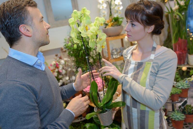 Blomsterhandlarekvinna och man eller kund på blomsterhandeln royaltyfri foto