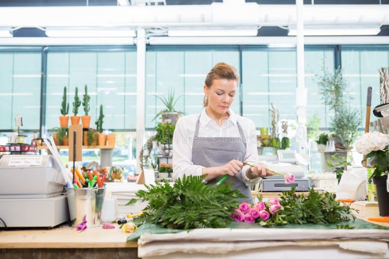 Blomsterhandlaren Cutting Stem On Rose At Counter In Flower shoppar arkivfoto