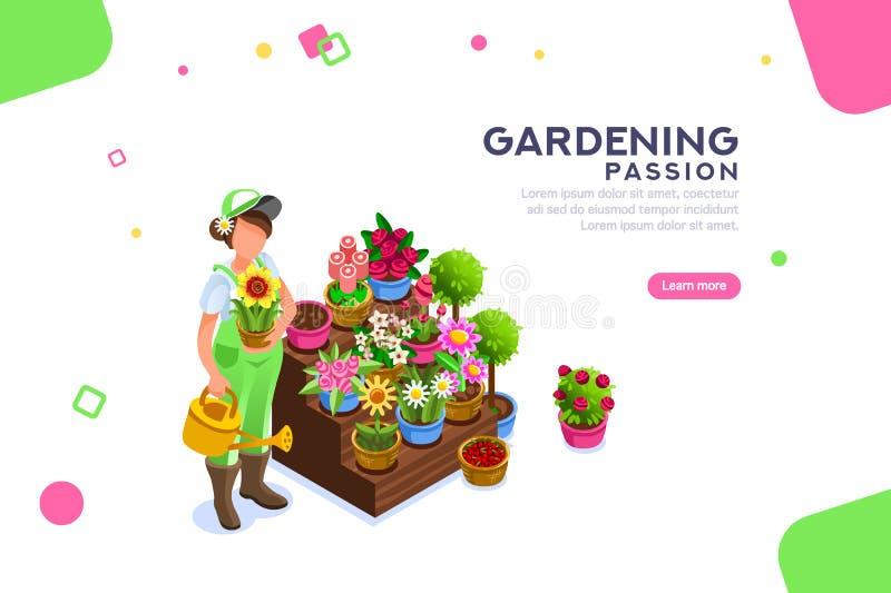 BlomsterhandlareSeasonal Market Female redigerbart baner stock illustrationer
