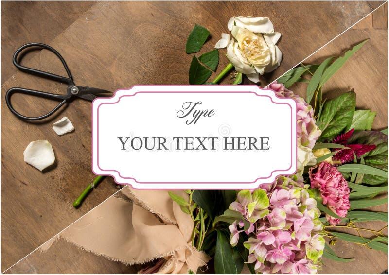 Blomsterhandlareskrivbordet med funktionsdugliga hjälpmedel royaltyfri fotografi