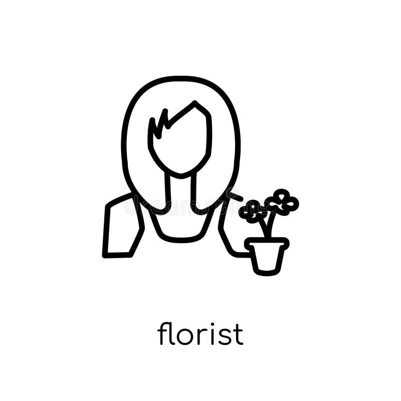 Blomsterhandlaresymbol Moderiktig modern plan linjär vektorblomsterhandlaresymbol på w royaltyfri illustrationer