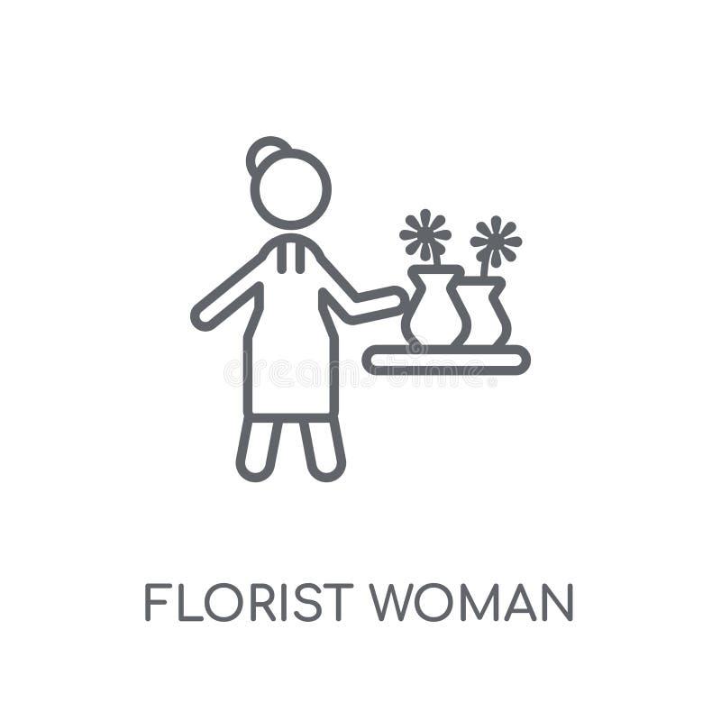 BlomsterhandlareWoman linjär symbol Den moderna översiktsblomsterhandlareWoman logoen lurar royaltyfri illustrationer