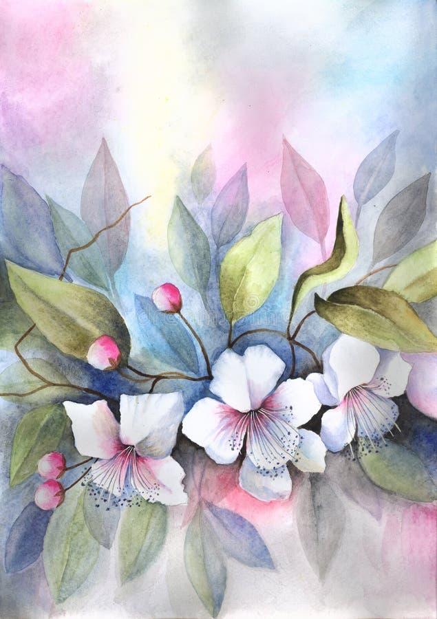 blomstra Cherrytree royaltyfri illustrationer