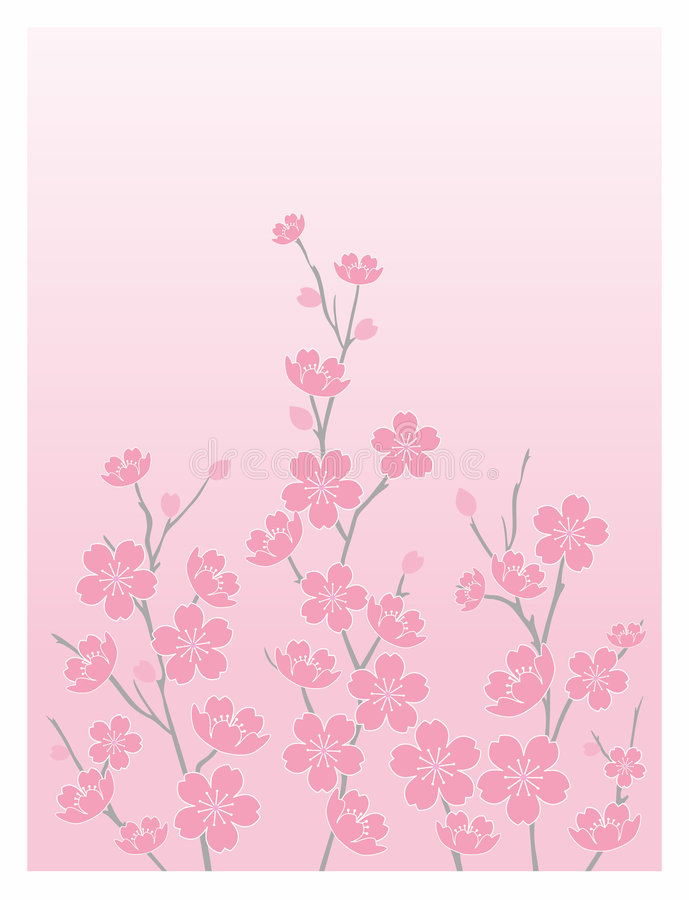 blomstrar Cherryvertical stock illustrationer