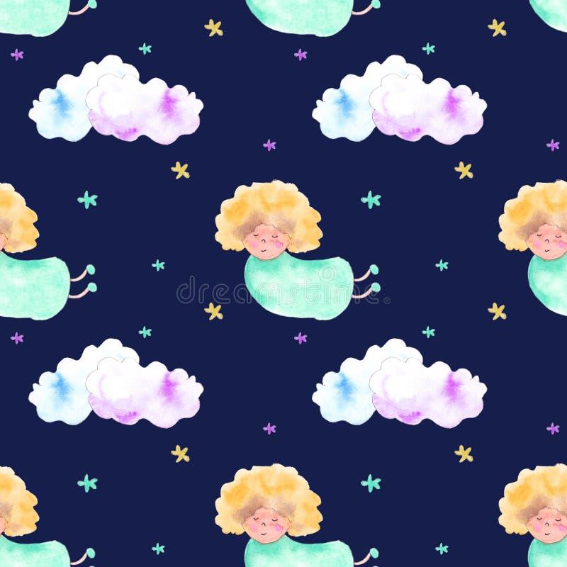 Blond ängel-, moln- och stjärnamodell royaltyfri illustrationer