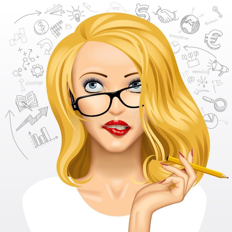 blond affärskvinna stock illustrationer