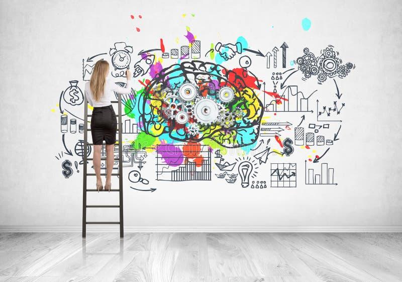 Blond affärskvinna på stegen, kuggehjärna arkivbild