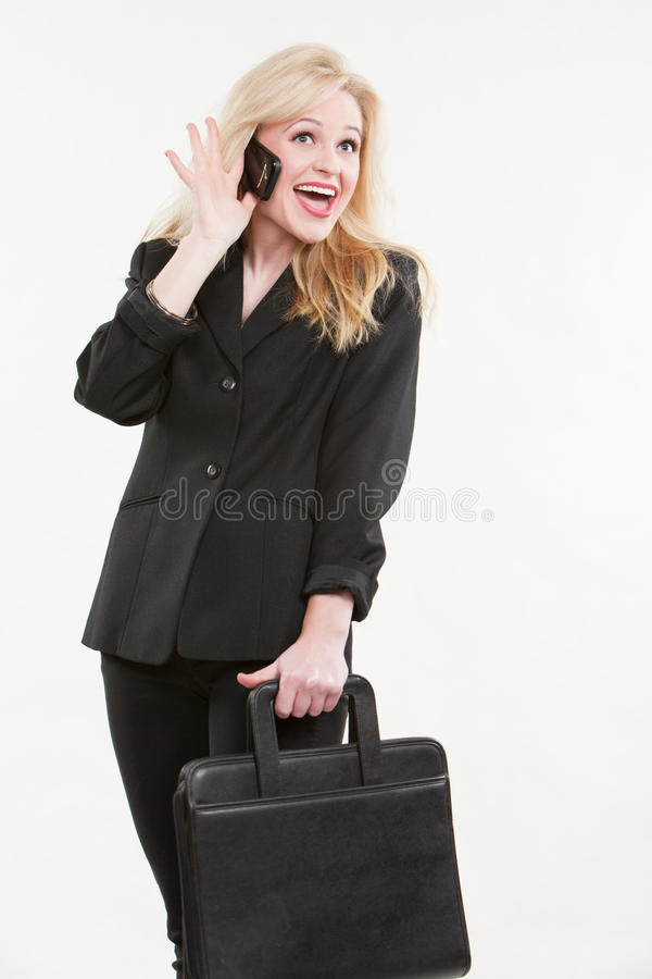 Blond attraktiv caucasian affärskvinna arkivfoto