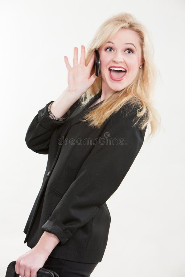 Blond attraktiv caucasian affärskvinna arkivbilder