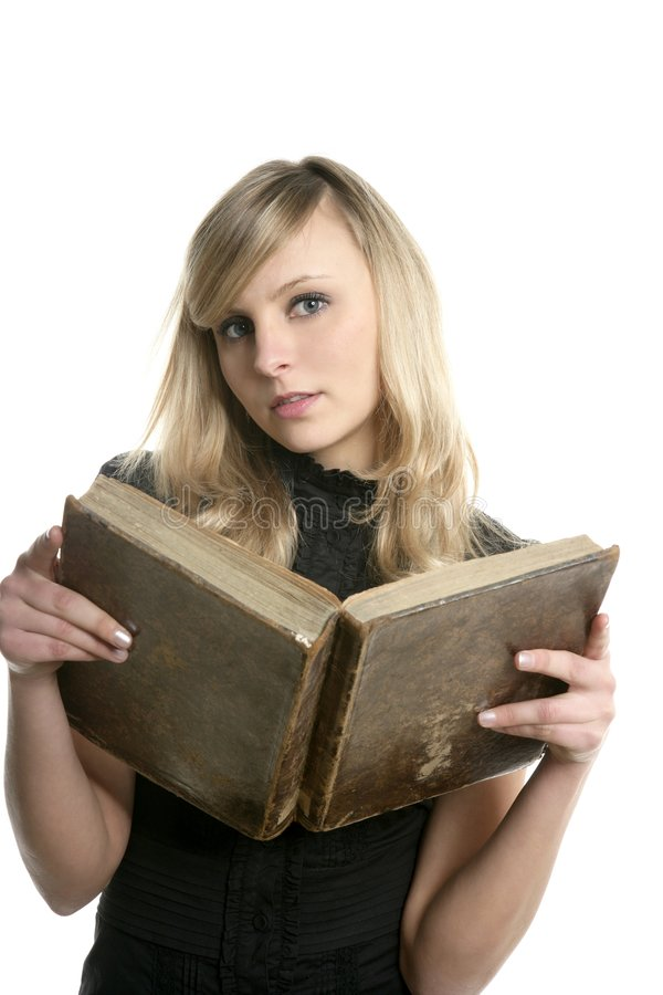 Blond beautiful student woman reading old book royalty free stock photography
